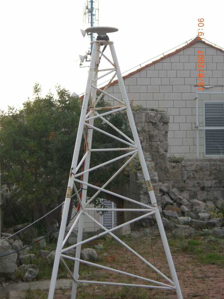 GNSS antenna on the tripod anchored to the flat roof of the Imperijal Fortess.