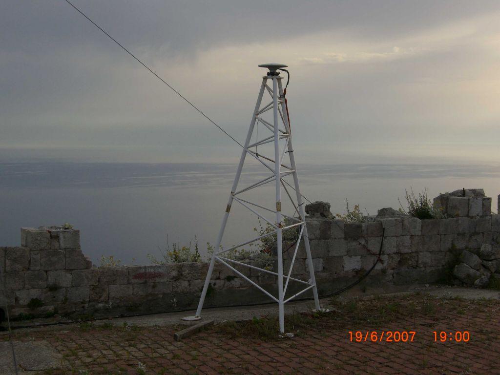 GNSS antenna on the steel tripod.