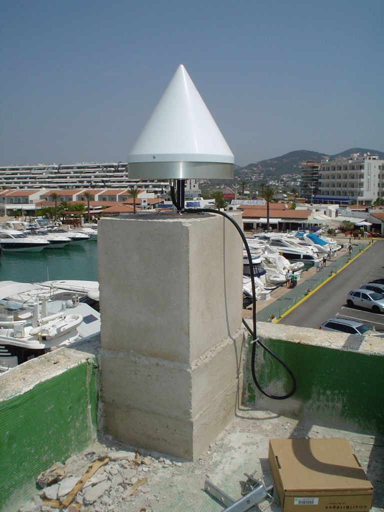 Concrete pillar on the terrace and antenna