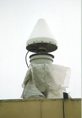 the antenna is placed on a special pillar for precise geodetic measurements.