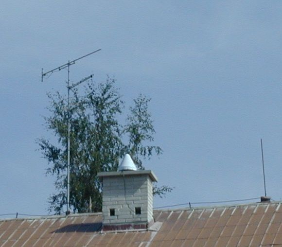 concrete pillar with antenna.