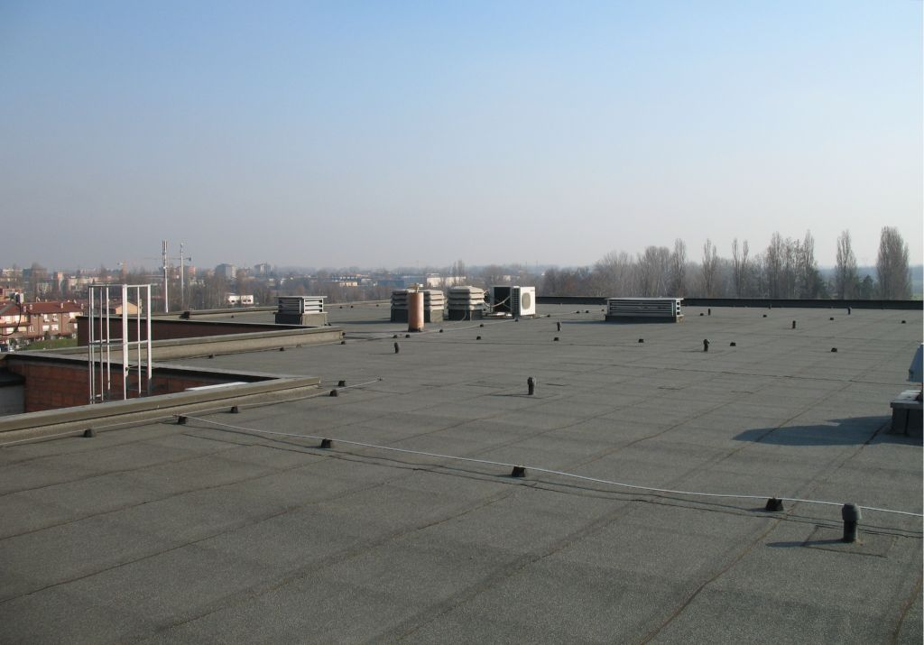 the pillar view on the roof of DIMeC, University of Modena and Reggio Emilia.
