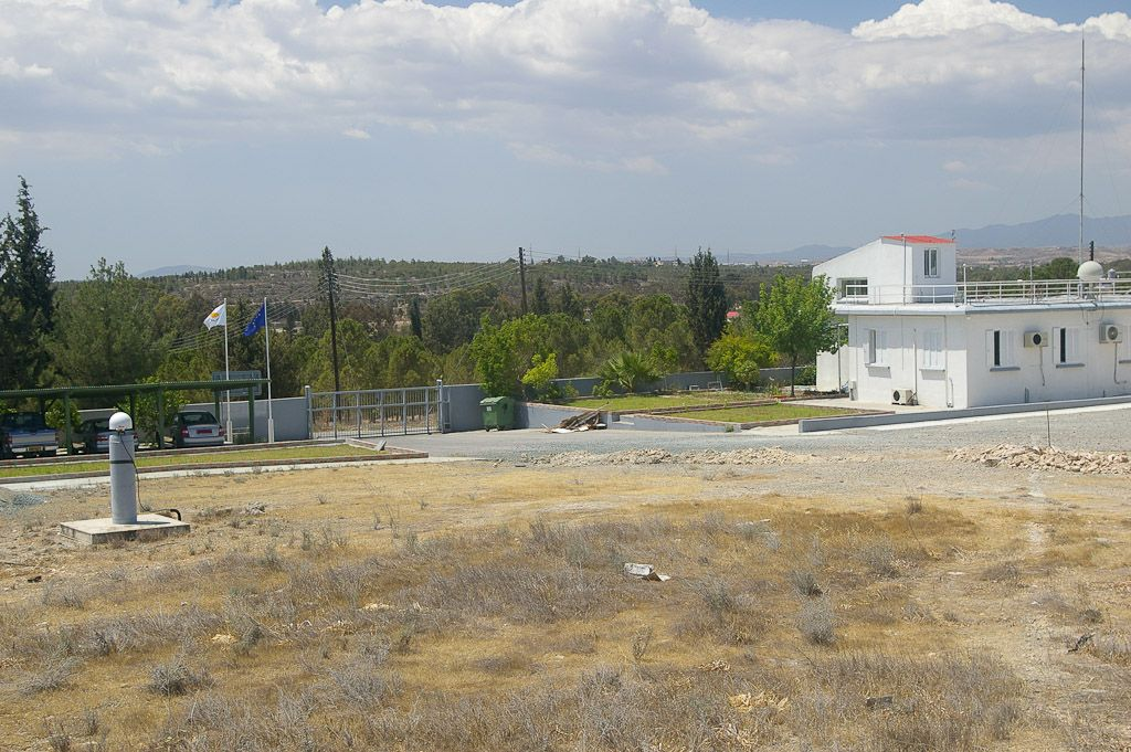 GNSS Antenna LEIAT504GG, pillar and the building of the Meteorological Radiosonde Station in Nicosia-Athalassa.