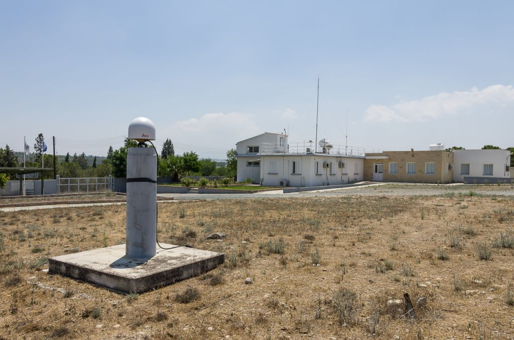 GNSS Antenna LEIAR25, pillar and the building of the Meteorological Radiosonde Station in Nicosia-Athalassa.