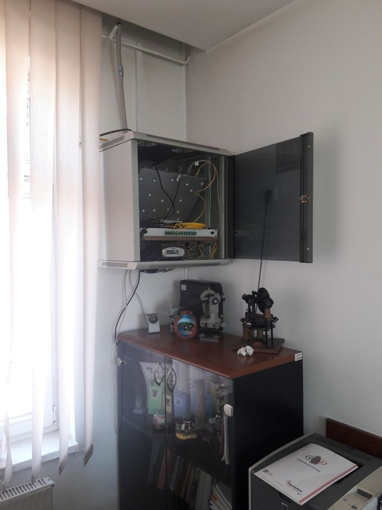 A closer view of cabinet where Trimble NetR9 GNSS receiver is placed along with other reference station modules in local cadastre office of Novi Pazar