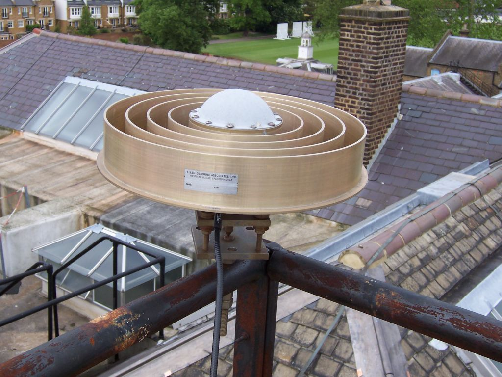 the NPLD antenna, on top of a levelling mount, on the roof of Building 2 at NPL.