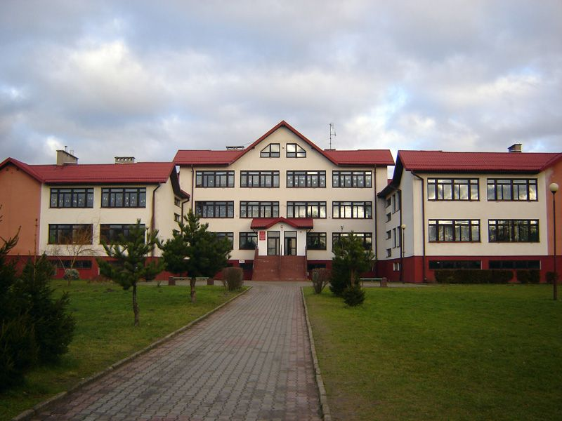 the school building. The antenna is located on the roof of the building.