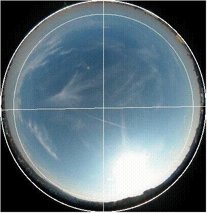 zenith picture made at the height of phase center transformed according to points of the compass No obstructions above 10 degrees of elevation angle (inner circle).