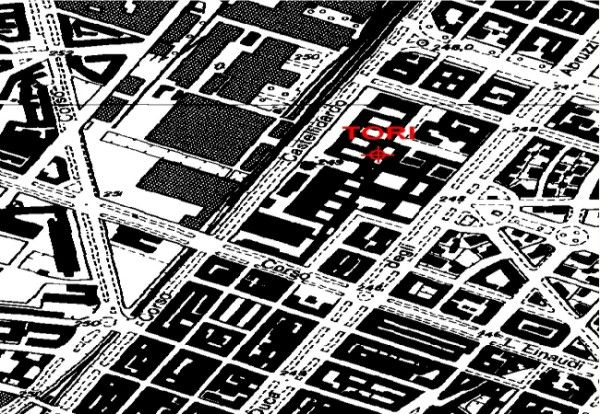 Politecnico di Torino and TORI GNSS permanent station location: map extract 1:10.000.
