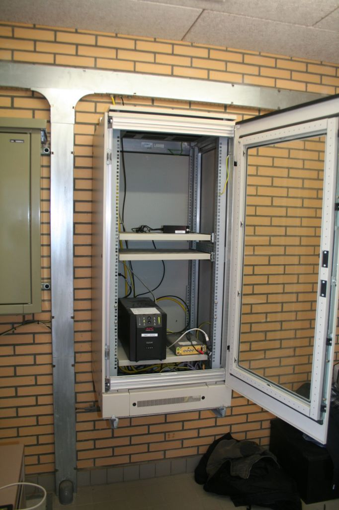 Instrument rack with the GNSS receiver.
