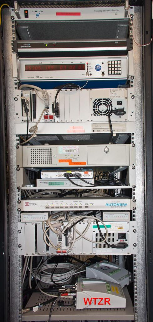the GNSS rack with WTZR receiver, the control computers, 5MHz distribution and timing system.