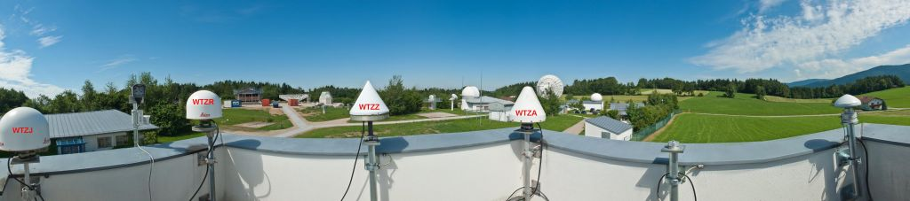 panorama picture of the survey and GNSS antenna tower in Geodetic Observatory Wettzell.