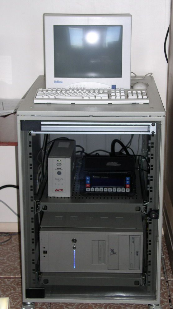 cabinet with ASHTECH Z-XII3, computer, monitor a.s.o.